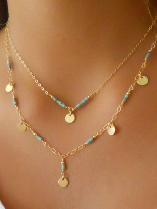 Women Double Layers Golden Necklaces