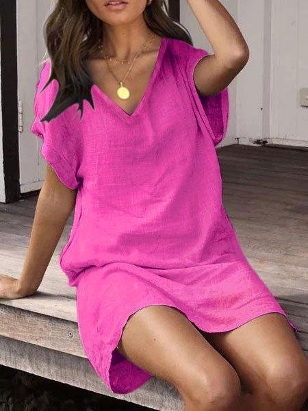 Plus Size Casual Solid Short Sleeve Dresses