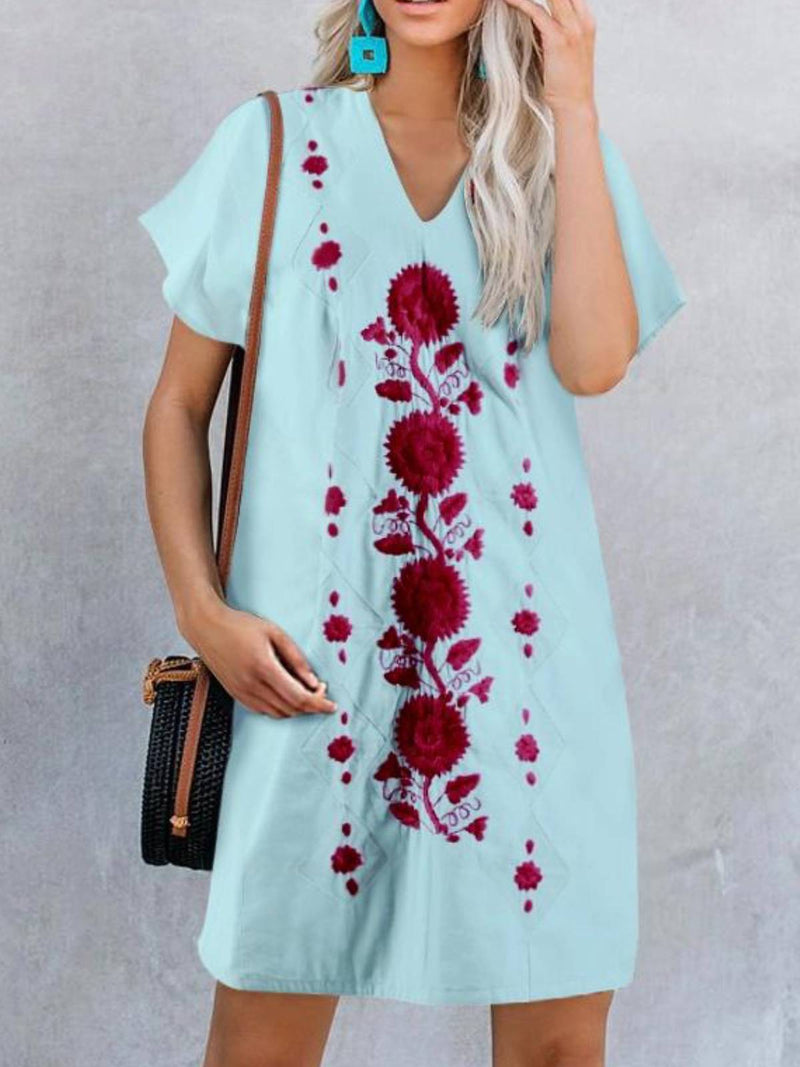 Casual Short Sleeve V Neck Cotton-Blend Dresses
