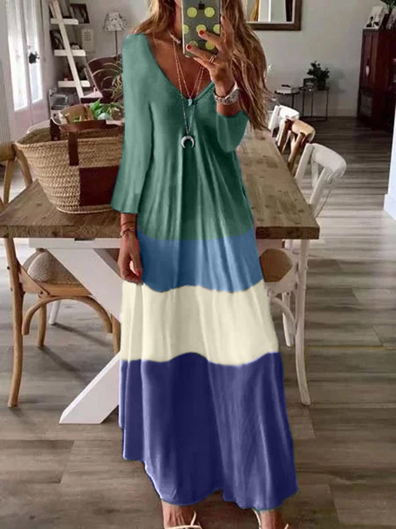 Multicolor Casual Long Sleeve V Neck Dresses
