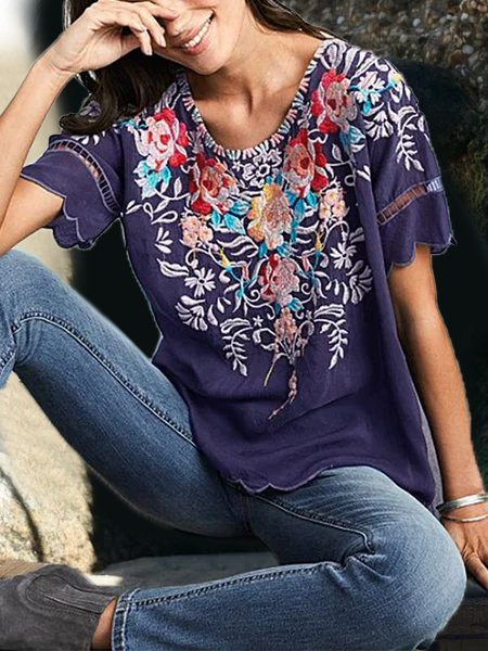 Round Neck Floral Casual Shirts & Tops