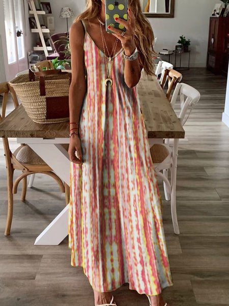 Dyed-Printed Maxi Holiday Dress