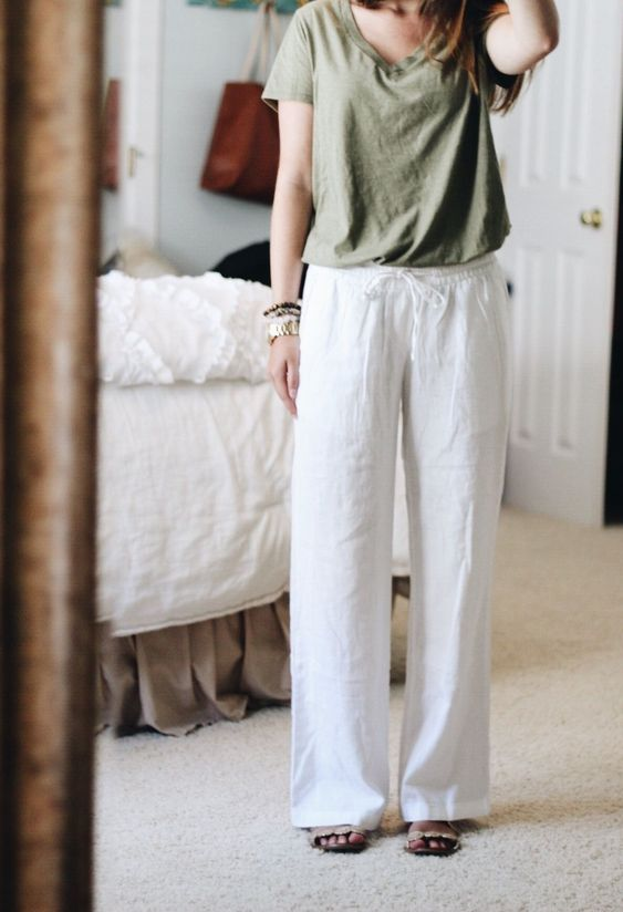 White Casual Solid Linen Pants