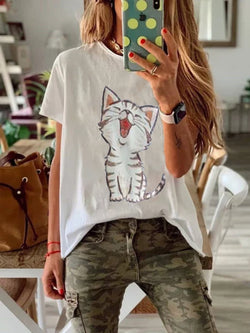 Plus Size Women Short Sleeve Round Neck Cat Floral Casual Tops