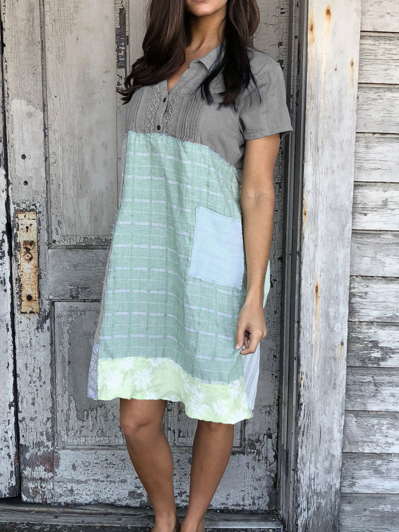 Casual Cotton Short Sleeve Patchwork Dresses