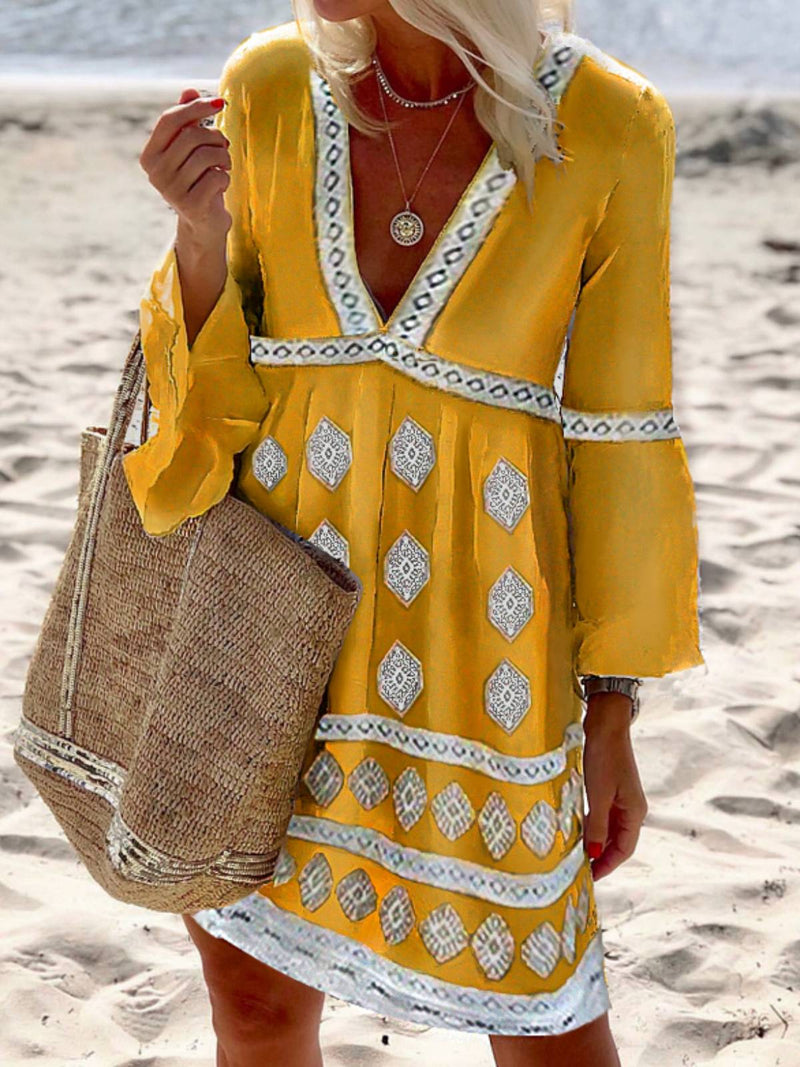 Yellow Cotton-Blend V Neck Casual Long Sleeve Dresses