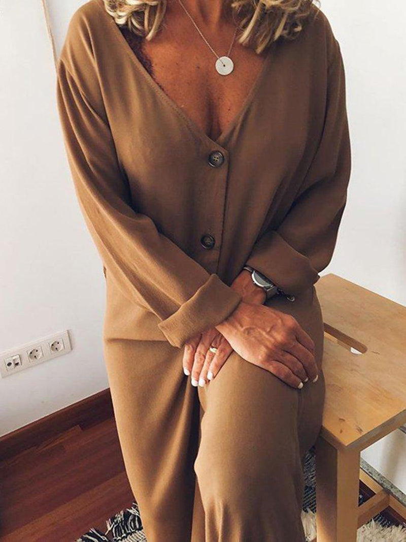 Casual Long Sleeve Wide Buttoned Jumpsuits