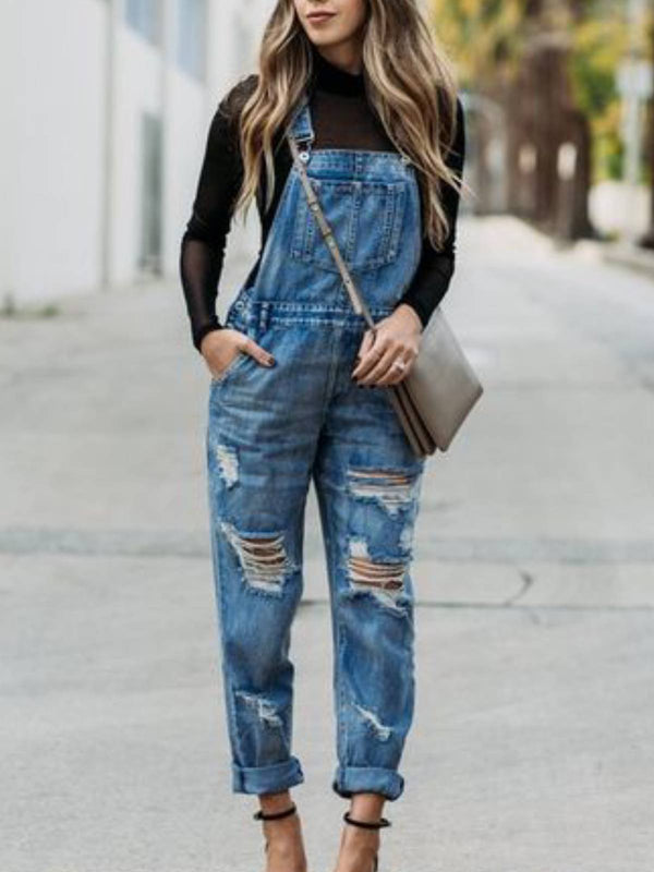 Blue Pockets Denim Casual One-Pieces