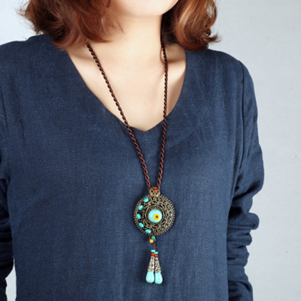 Turquoise Stone Pendant Sweater Chain Long Necklace