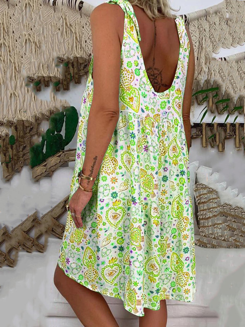 Holiday Floral Printed V-neck Sleeveless Mini Dress