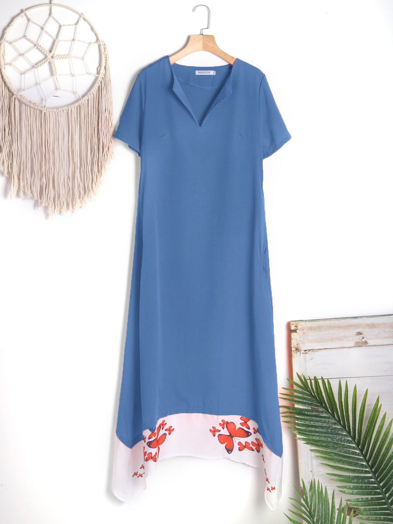 Casual Short Sleeve Cotton-Blend Dresses