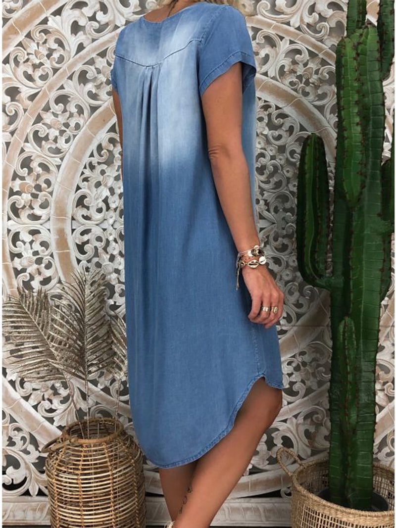 Short Sleeve Solid Casual V Neck Dresses