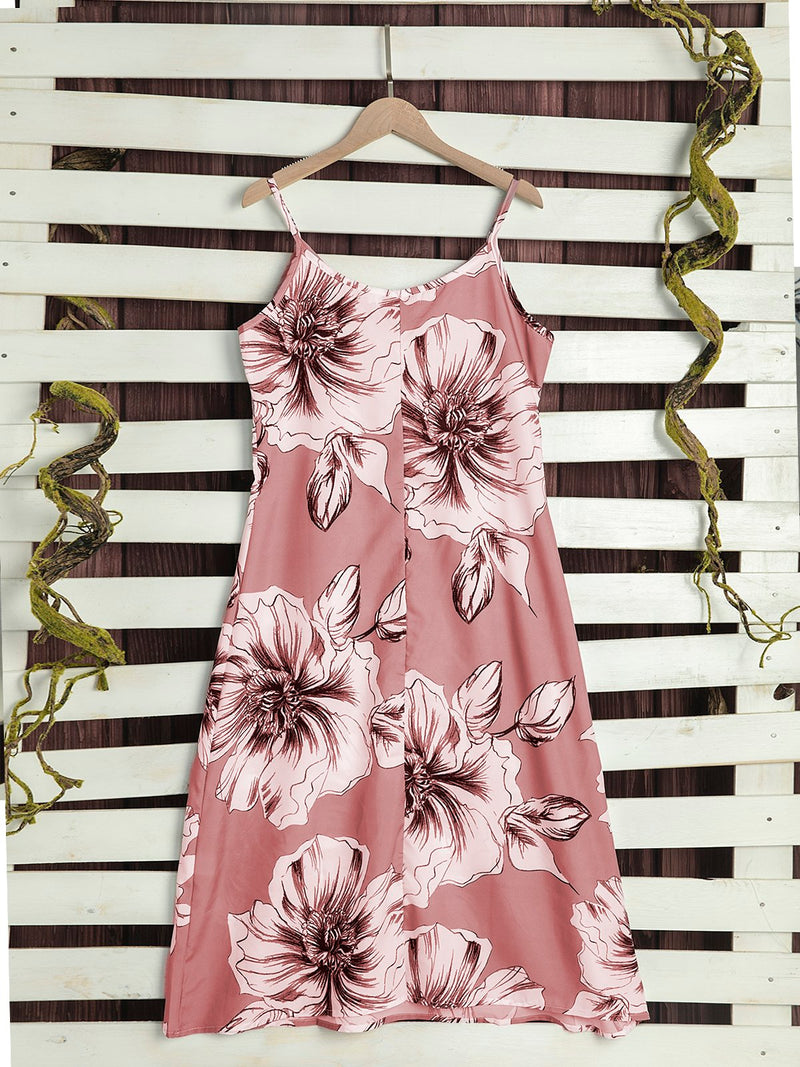 Casual Floral Printed V-neck Sleeveless Midi Dress