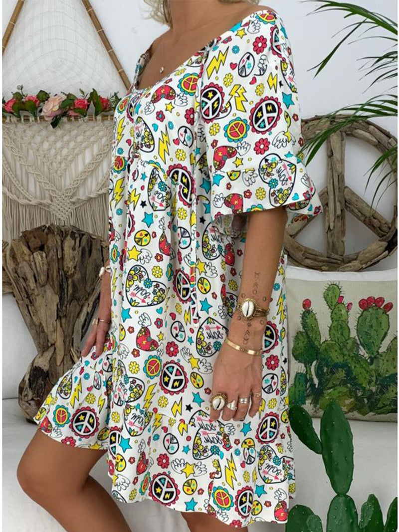 Short Sleeve Casual Round Neck Dresses