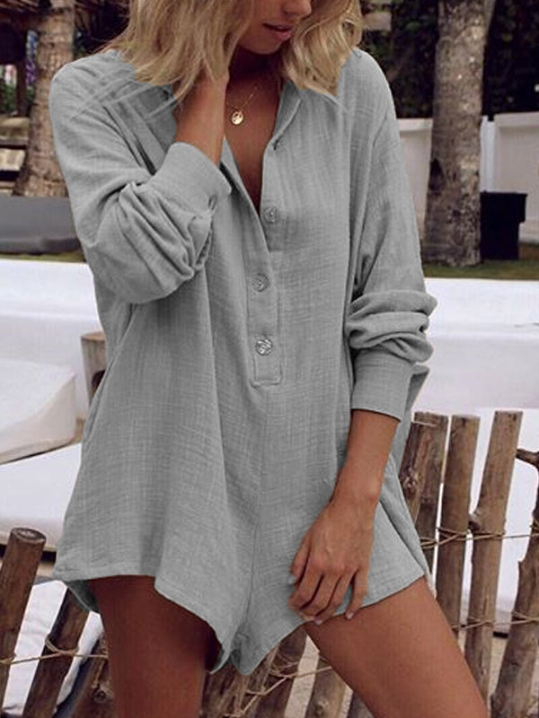Casual Long Sleeve V-Neck Plus Size Jumpsuits With Pockets