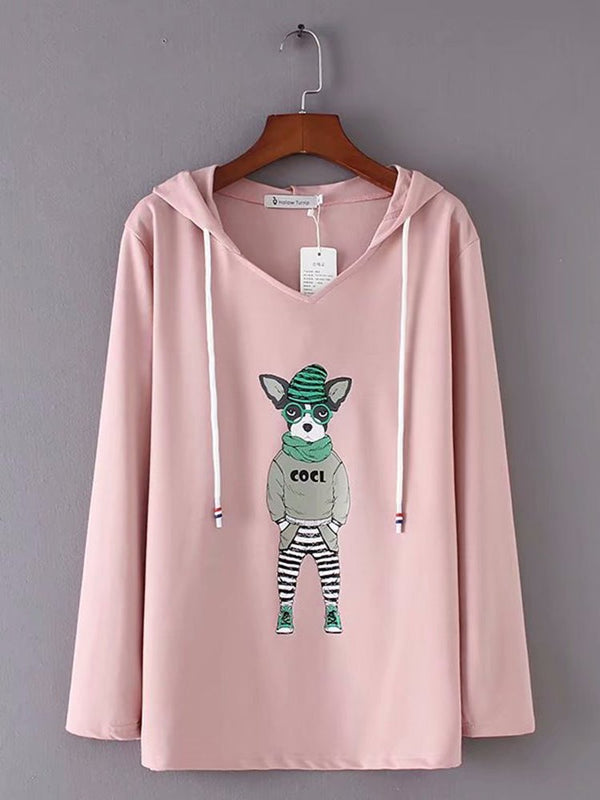 Animal Hoodie Long Sleeve Shirts & Tops