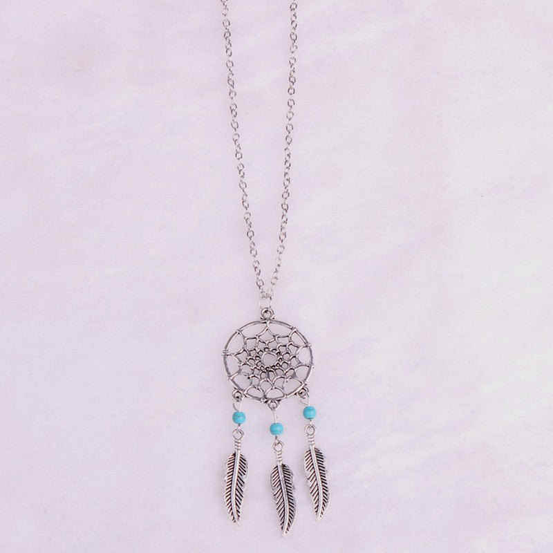 Round Feather Tassel Sweater Long Necklace