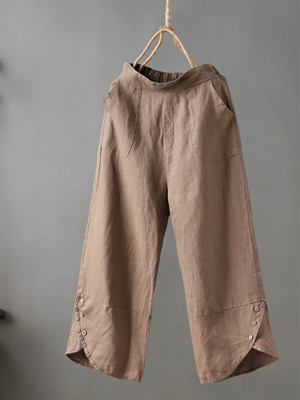 Buttoned Casual Line Pants