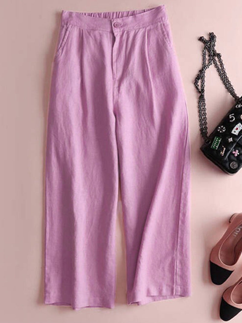Solid Pockets Elastic Linen Casual Straight Pants