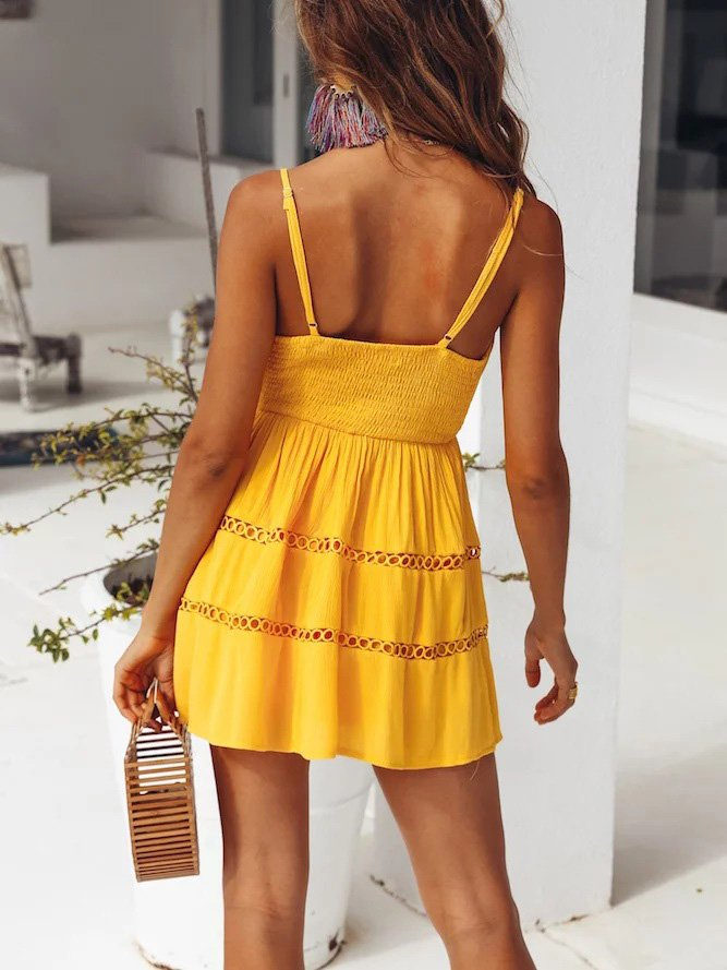 Yellow V Neck Cotton-Blend Patchwork Spaghetti-Strap Dresses