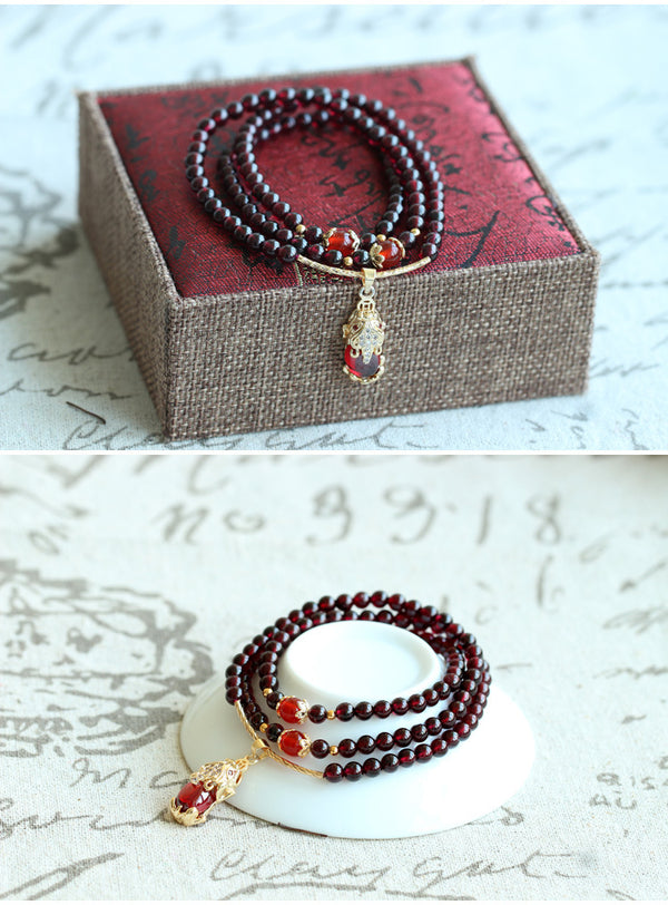 Burgundy Garnet Animal Necklace