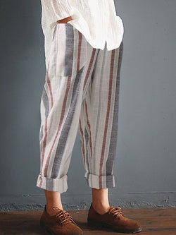Pockets Casual Striped Plus Size Pants
