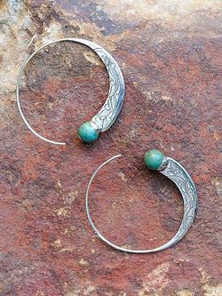 Antique 925 Solid Sterling Silver Natural Gemstone Turquoise Hoop Dangle Stud Earrings