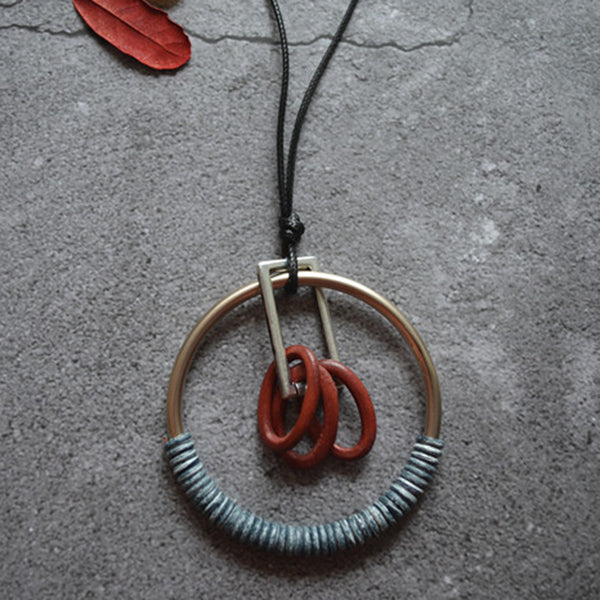 Personality Long Alloy Circle Design Pendant Necklace