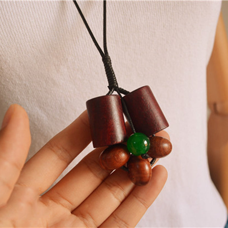 Cotton Cloth Accessories Geometric Wood Pendant Necklace
