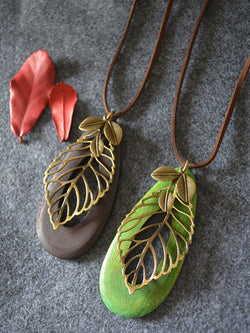 Vintage Casual Leaf Sweater Necklace