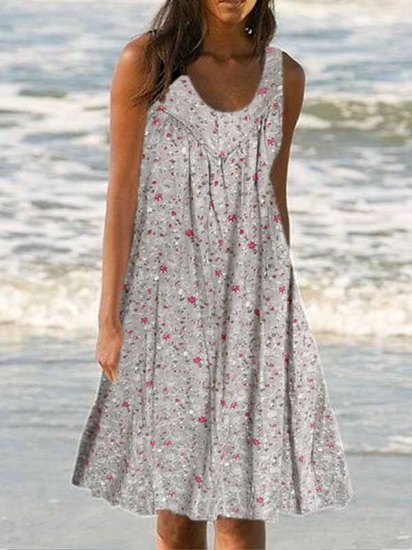 Plus Size Floral Print Beach Women Summer Midi Dresses