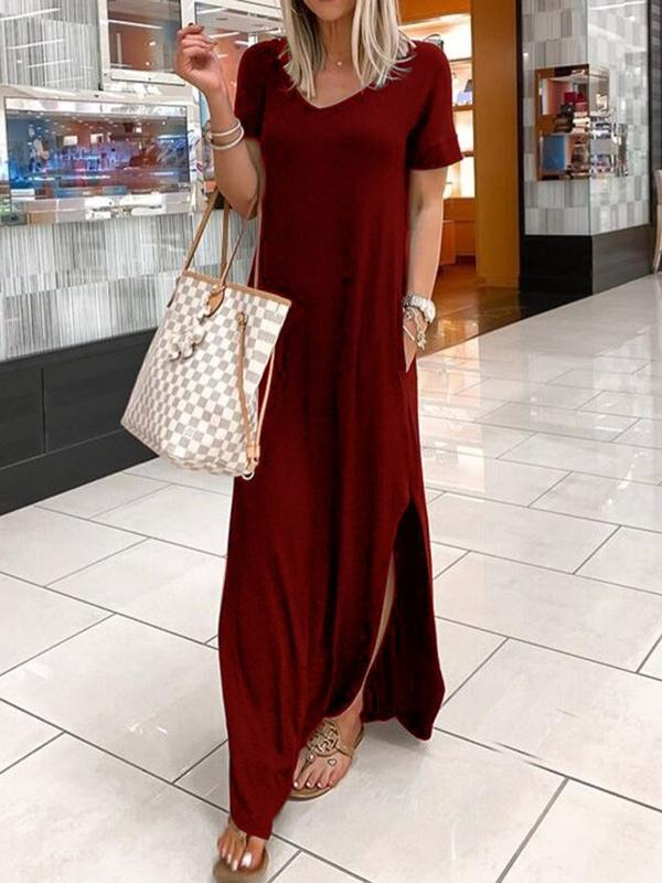 Short Sleeve V-Neck Split High Waist Casual Dress