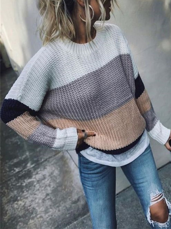 Multicolor Crew Neck Long Sleeve Knitted Shirts & Tops