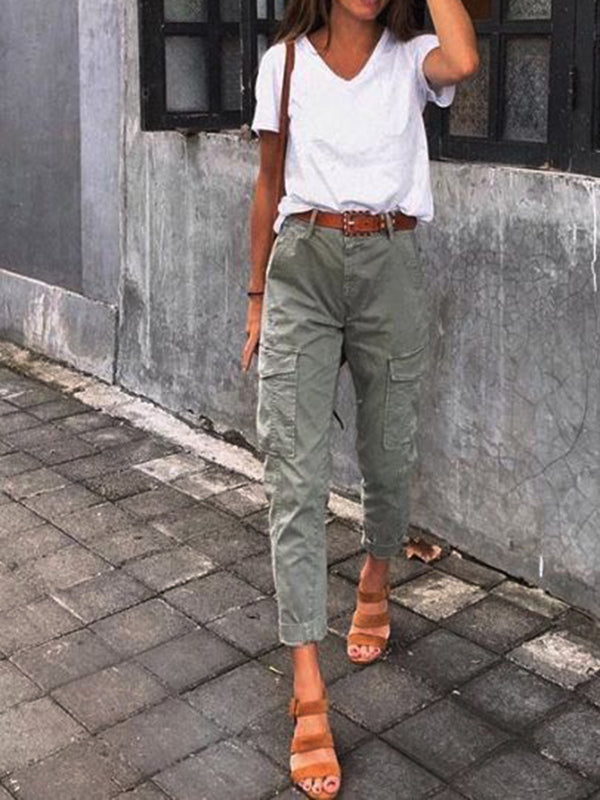 Women Cotton-Blend Solid Pants