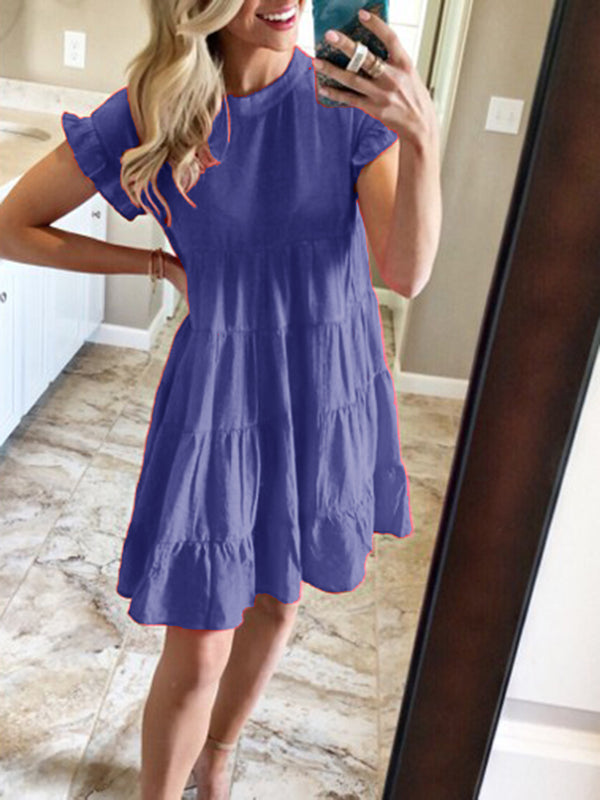 Frill Sleeve Solid Stand Collar Casual Dress