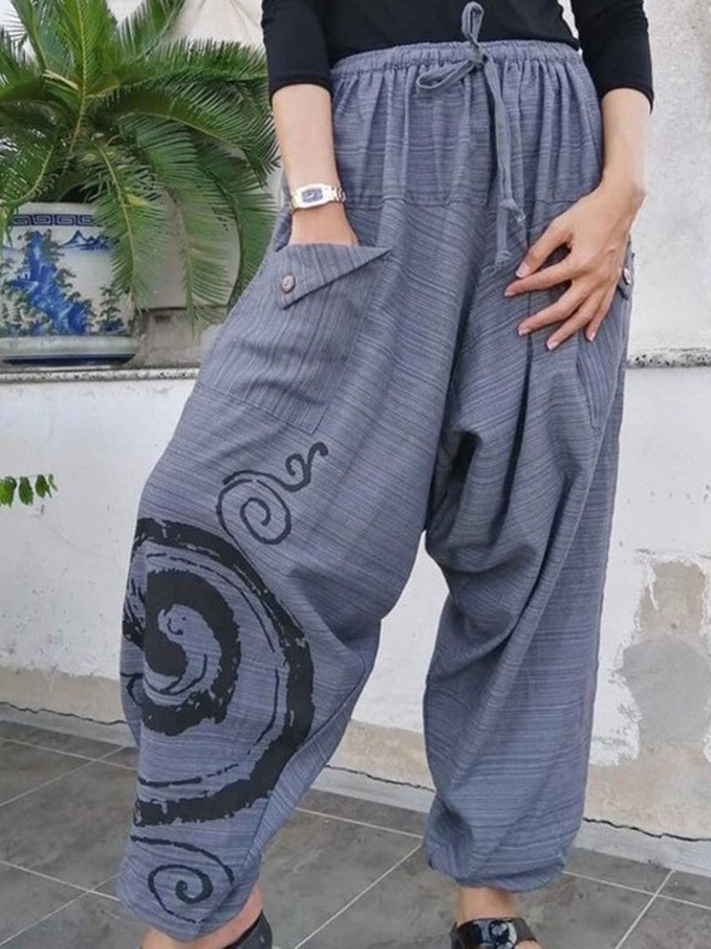 Grey Casual Cotton Pants