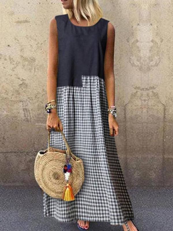 Casual Sleeveless A-Line Houndstooth Dresses