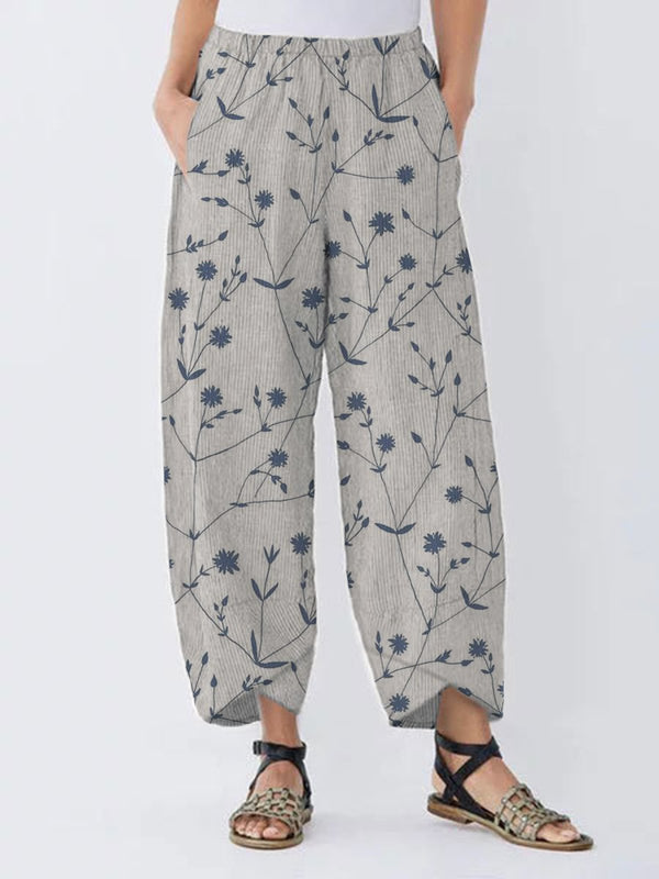 Vintage Floral Printed Women All Season Pockets Pants