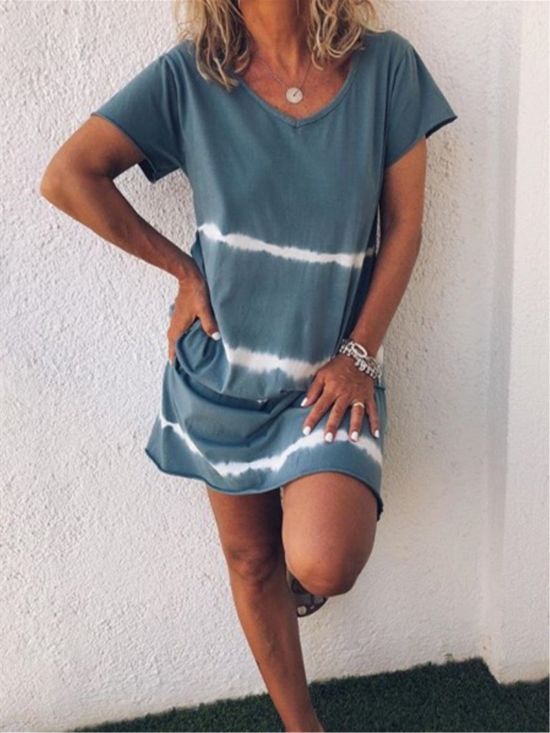 Casual Striped V-neck Short Sleeve Dress