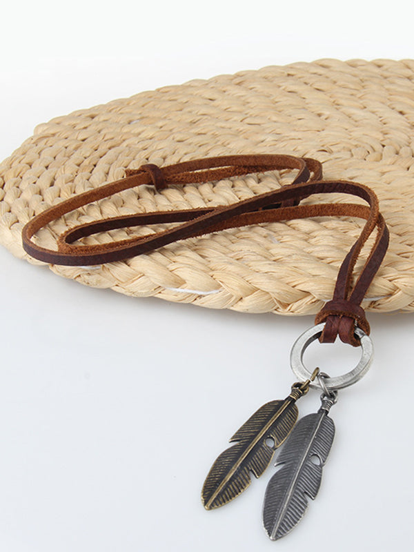 Brown Alloy Vintage Leaf Necklace