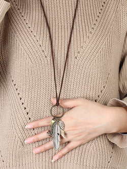 Brown Vintage Alloy Sweater Necklace