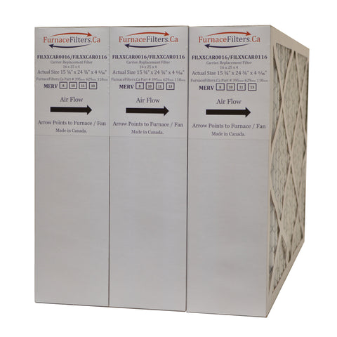 "Carrier FILCCCAR0016 Furnace Filter Size 16 x 25 x 4 5/16"" MERV 8. Case of 3."