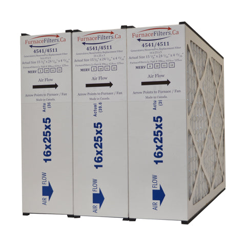 "Generalaire 4511 16x25x5 MERV 10 for Mac 1400. Actual Size 15 5/8"" x 24 3/16"" x 4 15/16"" (with foam strips). Package of 3"