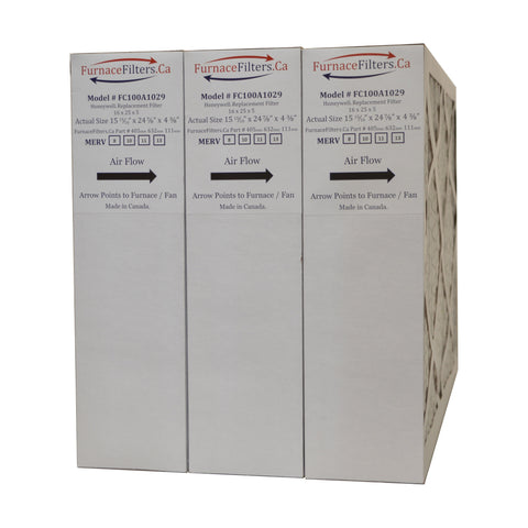"Honeywell 16x25x4 Furnace Filter Model # FC100A1029 MERV 13. Actual size 15 15/16"" x 24 7/8"" x 4 3/8."" Case of 3"