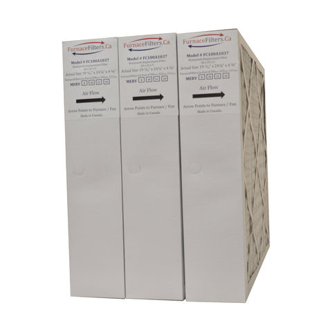 "Honeywell 20x25x4 Furnace Filter Model # FC100A1037 MERV 10. Actual Size 19 3/4"" x 24 3/4"" x 4 3/8."" Made in Canada by Furnace Filters.Ca  Pkg. of 3"