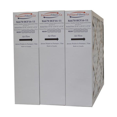 "Lennox X6670 Furnace Filter 16x25x5 MERV 13 for Model HCF16-11. Actual Size 15 3/4"" x 24 3/4"" x 4 3/8."" Case of 3"
