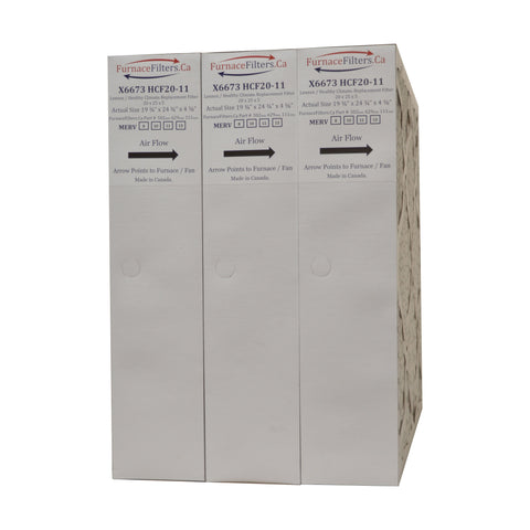"Lennox X6673 Furnace Filter 20x25x5 Replacement MERV 13. Actual Size 19 3/4"" x 24 3/4"" x 4 3/8."" Made in Canada by Furnace Filters.Ca Pkg. of 3"
