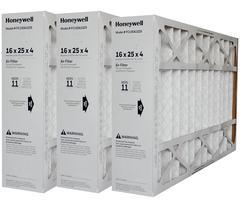 "Honeywell 16x25x4 Furnace Filter Model # FC100A1029 MERV 11. Actual Size 15 15/16"" x 24 7/8"" x 4 3/8"" Case of 3."