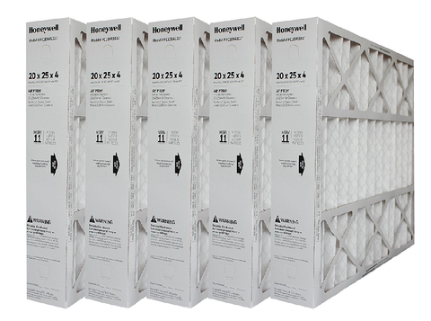 "Honeywell 20x25x4 Furnace Filter Model # FC100A1037 MERV 11. Actual Size 19 15/16"" x 24 7/8"" x 4 3/8"" Case of 5"
