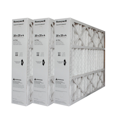 "Honeywell 20x25x4 Furnace Filter Model # FC100A1037 MERV 11. Actual Size 19 15/16"" x 24 7/8"" x 4 3/8"" Case of 3."